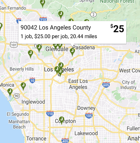 Map of Claim Jobs