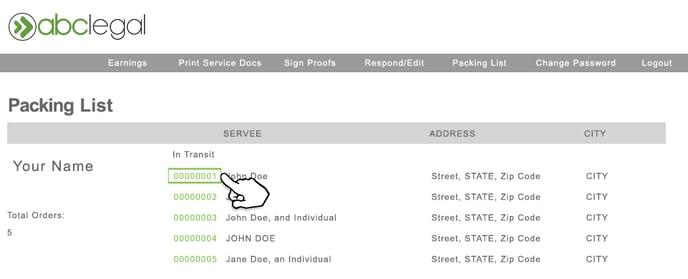 Packing List New Web Portal