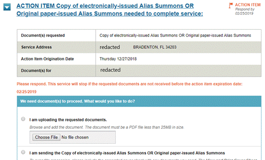 Automatically E-File Alias Summons In Florida