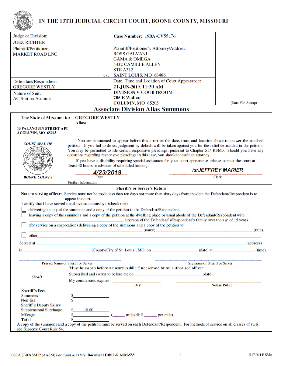 Missouri example summons